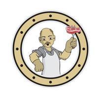 Cartoon Chef Opa Charakter hält eine Gabel und Fleisch vektor