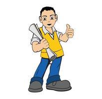 tecknad karaktär arbetare av byggföretag vektor