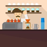 Flacher Barista in der Kaffeestube Hintergrund-Vektor-Illustration