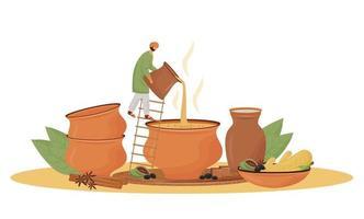 Indische Küche, flache Konzeptvektorillustration des Teeladenservice. Mann, der masala chai 2d Zeichentrickfigur für Webdesign gießt. traditionelles Getränk, aromatische Mischung, die kreative Idee dient vektor