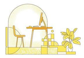 frilansare arbetsplats platt silhuett vektorillustration. avlägsen arbetsyta, kontorsammansättning för hemmakontor på gul bakgrund. tomt rum med stationär dator enkel stilritning