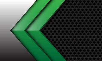abstrakt tvillinggrön pil på silver med mörkgrå cirkel mesh design modern futuristisk bakgrund vektorillustration. vektor