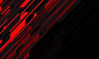 Cyber-Schrägstrich des abstrakten Rotlichtschaltkreises auf moderner futuristischer Technologiehintergrundvektorillustration des schwarzen Leerraumdesigns. vektor
