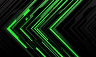 abstrakte grüne Pfeillicht-Cyber-geometrische Technologie futuristische Richtung auf modernem Hintergrundvektorillustration des schwarzen Entwurfs. vektor