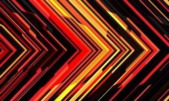 abstrakte rote gelbe schwarze Pfeillicht Cyber geometrische Technologie futuristische Richtung Design moderne Hintergrund Vektor-Illustration. vektor