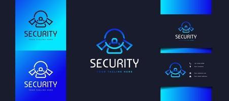 säkerhetslåslogotyp med modernt koncept i blå lutning, användbar för affärs- eller teknologilogotyper. cybersäkerhetslogotypdesign vektor