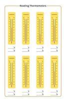 utskrivbar utbildningsavläsning av termometrar. termometeranvändning för mätning av lufttemperatur, kropp och andra mätändamål vektor