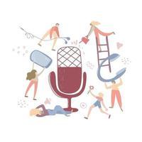 ljudchattkoncept, podcastshandritad platt vektorillustration. podcast koncept illustration. människor som lyssnar tillsammans för att skapa aodiochatt, podcast, radio. isolerad illustration vektor