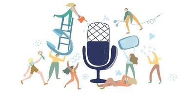 podcast vektorillustration. e-radio talkshow, diskussion och intervjupersoner koncept. virtuell mediekommunikation med mikrofon. klubbhus, ljudchattkoncept. influencer marknadsföring underhållning prestanda verksamhet vektor