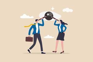 Teammitglieder von Geschäftsleuten, die ein Teleskop verwenden, um denselben Visionär zu untersuchen vektor