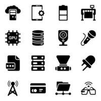 moderna tekniska prylar ikonuppsättning vektor