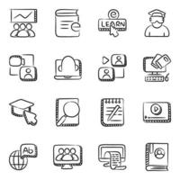 utbildningsteknik och digital utbildning ikonuppsättning