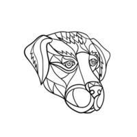labrador hundhuvud svartvit mosaik vektor