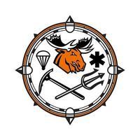 Maskottchenikonenillustration des Kopfes eines Elches innerhalb des Kompasses vektor
