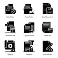 Symbolsatz für Mediendateien und Ordner vektor