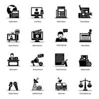 Icon-Set für Journalismus und Massenmedien vektor
