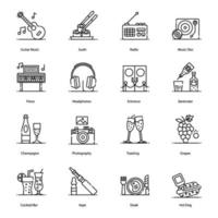 club bar musik element ikonuppsättning vektor