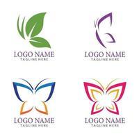 Schönheit Schmetterling Logo Vektor Icon Design Set