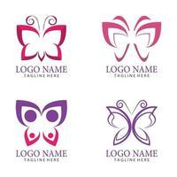 skönhet fjäril logo vektor ikon design set