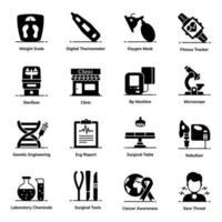 Notfall- und Fitness-Icon-Set vektor