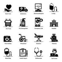 akut och vård ikonuppsättning