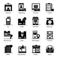 shopping och e-handel ikonuppsättning