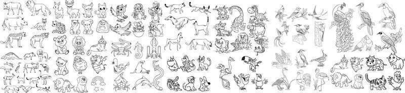svartvitt djur karaktär vektor