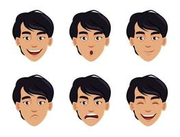ansiktsuttryck av asiatisk man vektor