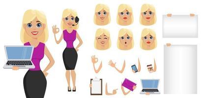 affärskvinna tecknad karaktär skapande set. söt blond affärskvinna i smarta avslappnade kläder. vektor