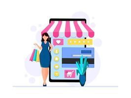 affärsmall med webbutik vektor