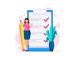kvinna planerar månad, att göra-lista vektor