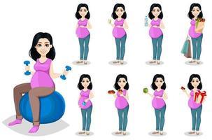 schwangere Frau. schöne Frau. einstellen vektor