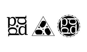 första p kreativa logo design mall vektor