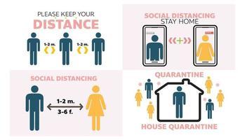 soziale Distanz halten Abstand Zeichen Coronavirus Vektor-Illustration vektor