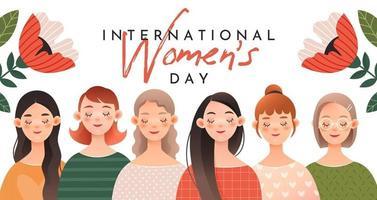 eine Gruppe von niedlichen Mädchengrußkarte für internationalen Frauentag vektor
