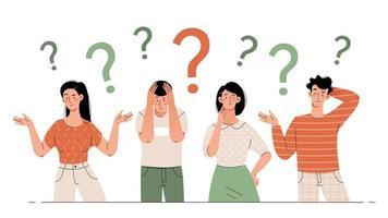 verwirrte und verwirrte Menschen mit einem Fragezeichen vektor