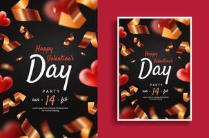 Valentinstag Party Flyer Vorlage vektor