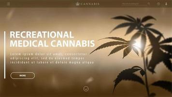 medizinisches Freizeit-Cannabis, braune Vorlage des Rabattbanners für Website mit Silhouette von Cannabis gegen Sonnenuntergang. vektor