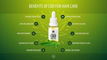Medizinische Vorteile von CBD für die Haarpflege, grünes Infografik-Poster mit Symbolen für medizinische Vorteile und transparente Glasflasche mit medizinischem CBD-Öl vektor