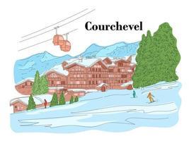 Courchevel im Winter. Leute fahren Ski. Skigebiet. Vektorlinienillustration vektor