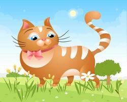 An einem sonnigen Tag geht eine Katze auf dem Rasen im Gras spazieren. fette Katze mit einem Schmetterling. Vektorillustration vektor