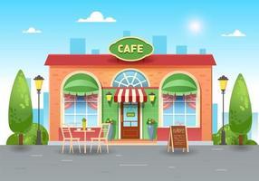 Stadt Sommercafé. helles Café in der Stadt mit einem Tisch. flache Illustration des Vektors vektor