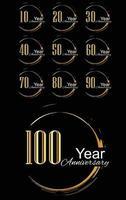 Set Jahr Jubiläumsfeier Gold und Schwarz Hintergrund Farbvektor Vorlage Design Illustration vektor