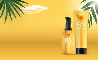 3D realistische Sonnenschutzcremeflasche auf sonnigem gelbem Hintergrund mit Palmblättern. Designvorlage des Modekosmetikprodukts. Vektorillustration vektor