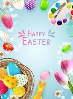 Osterplakatschablone mit realistischen Eiern 3d, malen. Vorlage für Werbung, Plakat, Flyer, Grußkarte. Vektorillustration vektor