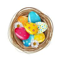 Ostern Designelement Nest mit Eiern. Vektorillustration vektor