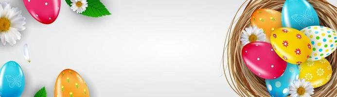 Osterverkaufsplakatschablone mit realistischen Ostereiern und Nest 3d. Vorlage für Werbung, Plakat, Flyer, Grußkarte. Vektorillustration vektor