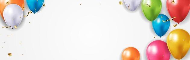 realistisches 3d Ballonplakat für Partei, Feiertagshintergrund, Geburtstag, Werbekarte, Plakat. Vektorillustration eps10 vektor