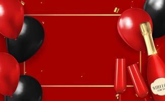 realistischer 3d roter Ballon gratuliert Hintergrund mit Flasche Champagner und einem Glas für Party, Feiertag, Geburtstag, Werbekarte, Plakat. Vektorillustration vektor