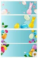 Osterleere Plakatschablonensatz mit realistischen Ostereiern und Farbe 3d. Vorlage für Werbung, Plakat, Flyer, Grußkarte. Vektorillustration vektor